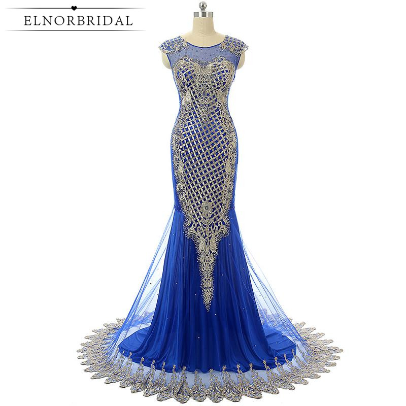 Royal Blue Mermaid Evening Dress Long 2017 Robe De Soiree Embroidery Sheer Prom Dress Formal Imported Party Dress Women Gowns
