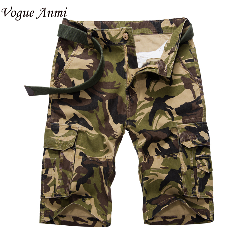 Vogue Anmi New 2017 Mens Casual Camouflage Shorts Men Loose Cargo Shorts Men Large Size Multi-pocket Military Short homme