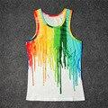 Caliente Diferentes colores de pintura que gotea 3D Print Tank Tops Niños Mens Camiseta adolescente Algodón Tee Suelta Prenda Unisex