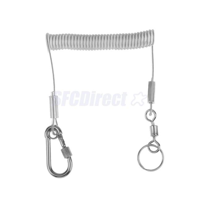 1.4M Retractable Steel Wire Coiled Lanyard Safety Rope with Swivel ...