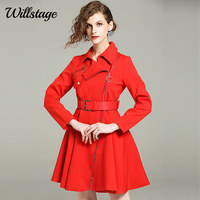 Willstage Women Long Trench Coats Full Sleeve Pleat Dress Style Windbreaker With Sashes Slim Zipper Elegant