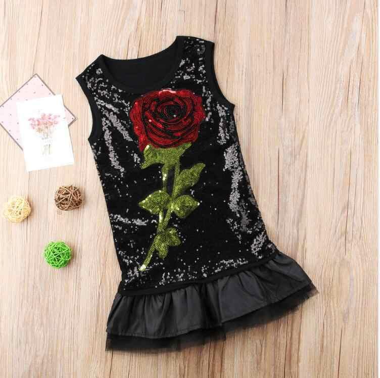 Летние платья для девочек; коллекция 2018 года; модные черные платья розового цвета; Одежда для девочек; праздничное платье без рукавов с бантом; Одежда для девочек; для детей