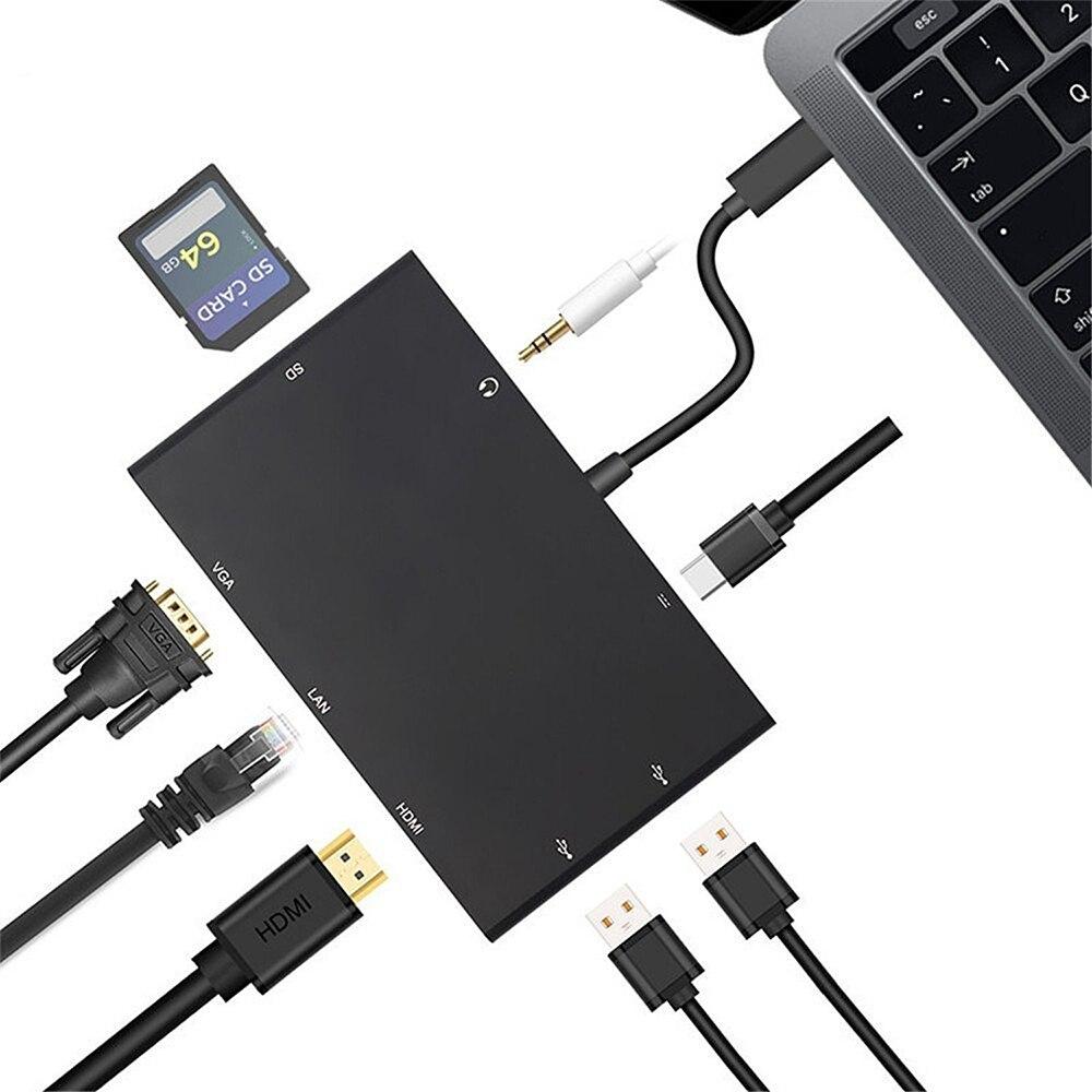 8 en 1 Type C à HDMI Rj45 1000 M Lan HDMI VGA USB Hub 3.5 MM Audio USBC lecteur de carte SD USB 3.0 Dock câble adaptateur pour Macbook