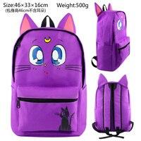anime Sailor moon Purple Cat luna backpack cartoon canvas Teens Girls Women schoolbags Laptop Travel bag
