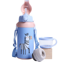 Portable children's thermos cup with suction tube dual use 304 stainless steel kettle primary school kindergarten lovely animals