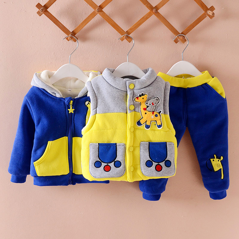 Фото 2018 Winter tracksuit for boys Warm hooded Fashion Clothing Sets 3 Piece Suit Coat Clothes 0-2 Years Baby Boys Cotton Tracksuits