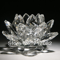 Free shipping 18cm top grade k9 crystal lotus flower wedding and home decoration gift