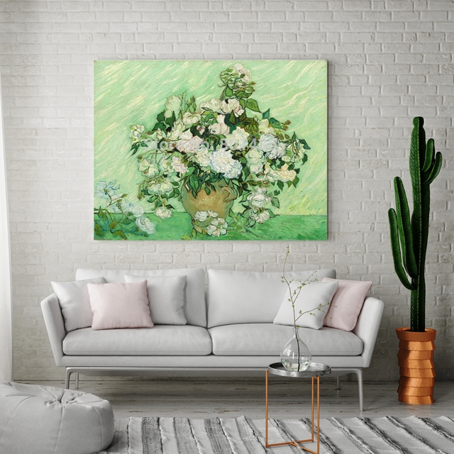 A Vase Of White Roses Canvas Painting For Dining Room Wall Decor Vicent Van Gogh Artwork Prints Vintage Home Decoration Dropship