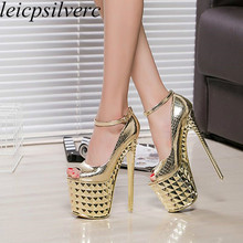 Women Pumps Shoes Super High Heels Sexy Fashion Thin Heels Platform 2017 Spring Autumn Buckle Peep Toe Party Wedding Shoes Black 2018 women pumps spring and autumn shoes super square high heels platform 2 5cm round toe shoes for women size