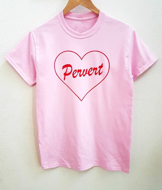 Pervert Shirts pink love t shirt cute heart Printed tees fashion ...