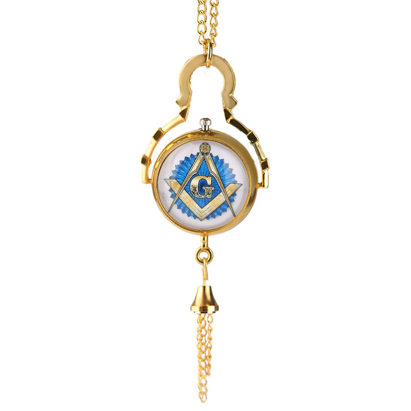 Classic Quartz Pocket Watch Free-Mason Masonic Freemason Symbol Glass Ball Tassel Hour Men Women Unisex Xmas Gift For Dad Mom hot theme masonic freemason freemasonry g pocket watch men gift watch free shipping p1198