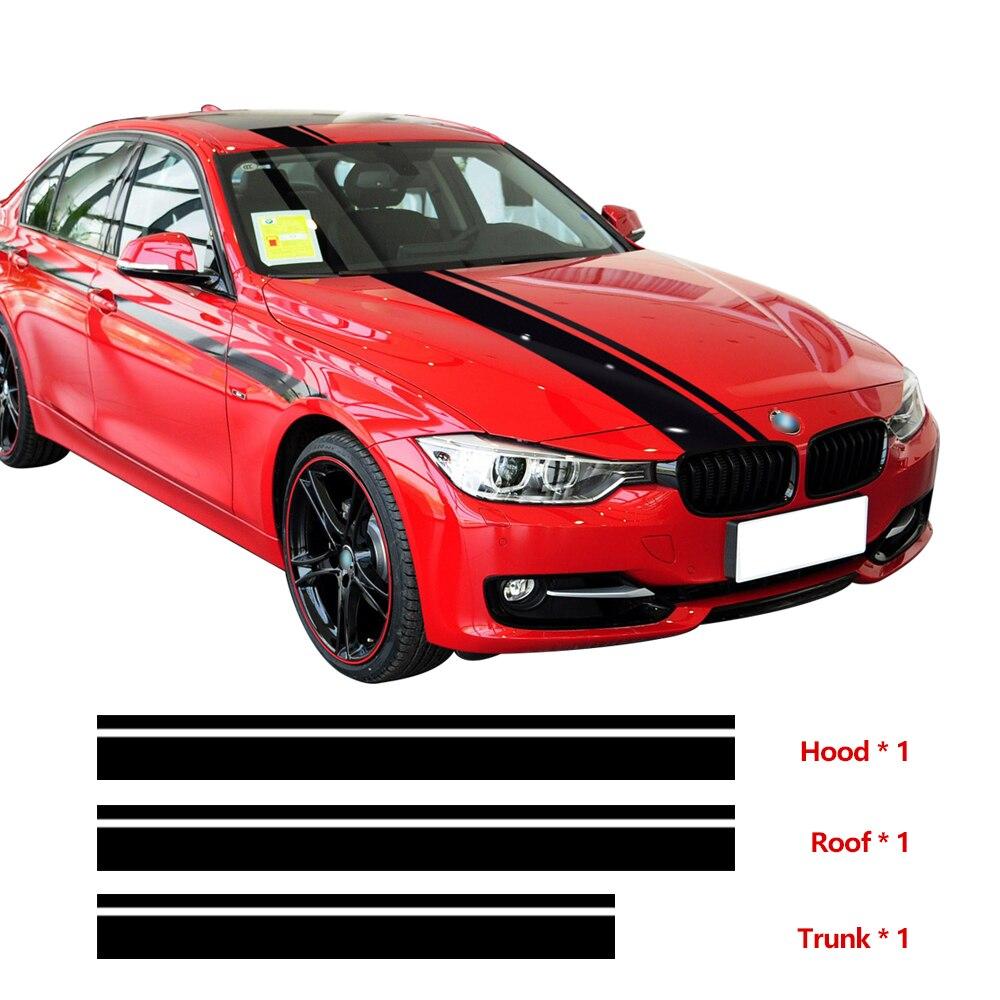 Voiture style capot toit coffre moteur couverture course rayures décalcomanie autocollant pour BMW F30 F31 F32 F34 F36 E90 E92 E46 M3 M4 accessoires