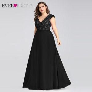 Image 5 - Plus Size Prom Dresses Long 2020 Ever Pretty EP07344 Elegant Burgundy A line Sleeveless Lace Appliques V neck Vestidos De Gala