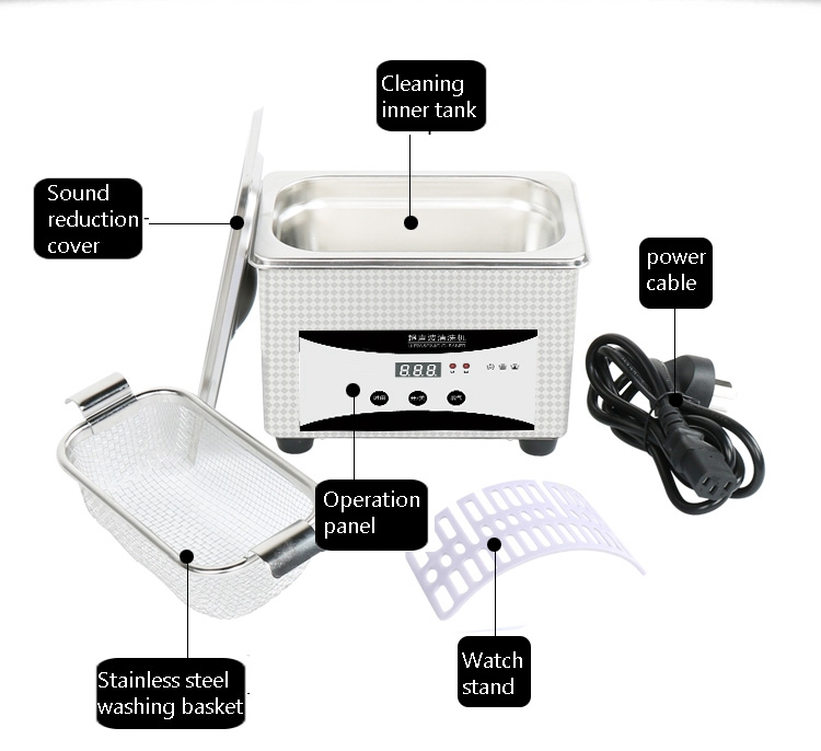 800ml Stainless Steel Ultrasonic Cleaner Bath For Watch/Coins/Jewelry/Nail Tools 12