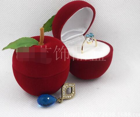20pcs/lot free shipping cute fruit apple jewelry box cartoon red green velvet ring necklace box
