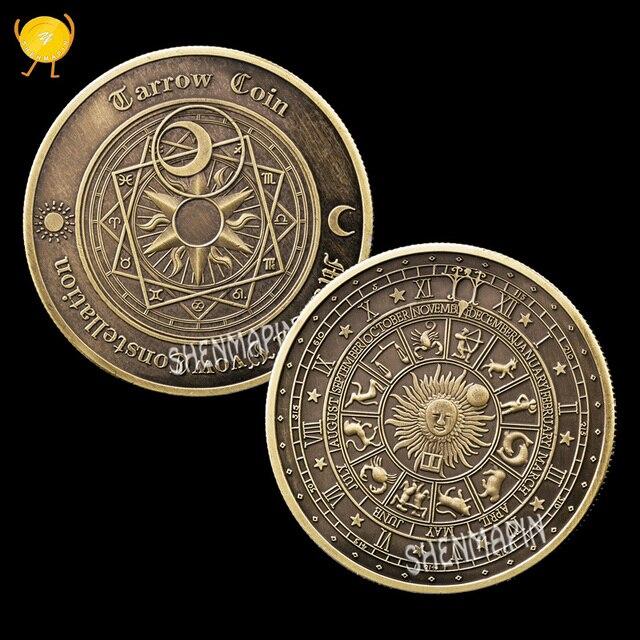 Tarot deseando moneda conmemorativa sol Luna constelación desafío moneda Feng Shui monedas coleccionables ayuda a la gente a pensar cosas