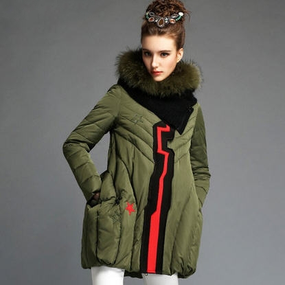army green black 2015 autumn winter coat new European American fashion loose solid luxury fur collar hooded down jacket D3857 new 2015 autumn winter outdoors medium long fleece jacket fur hooded army green parka men thickening coat 10