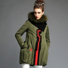 army green black 2015 autumn winter coat new European American fashion loose solid luxury fur collar hooded down jacket D3857