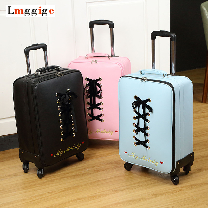 New Luggage bag ,Women Suitcase,Fashion PU Travel Box,Rolling Carry On,Trolley Hardcase Case with ,Gift for Women hello kitty luggage set women kids suitcase bag abs carry ons hardcase travel box rolling trolley