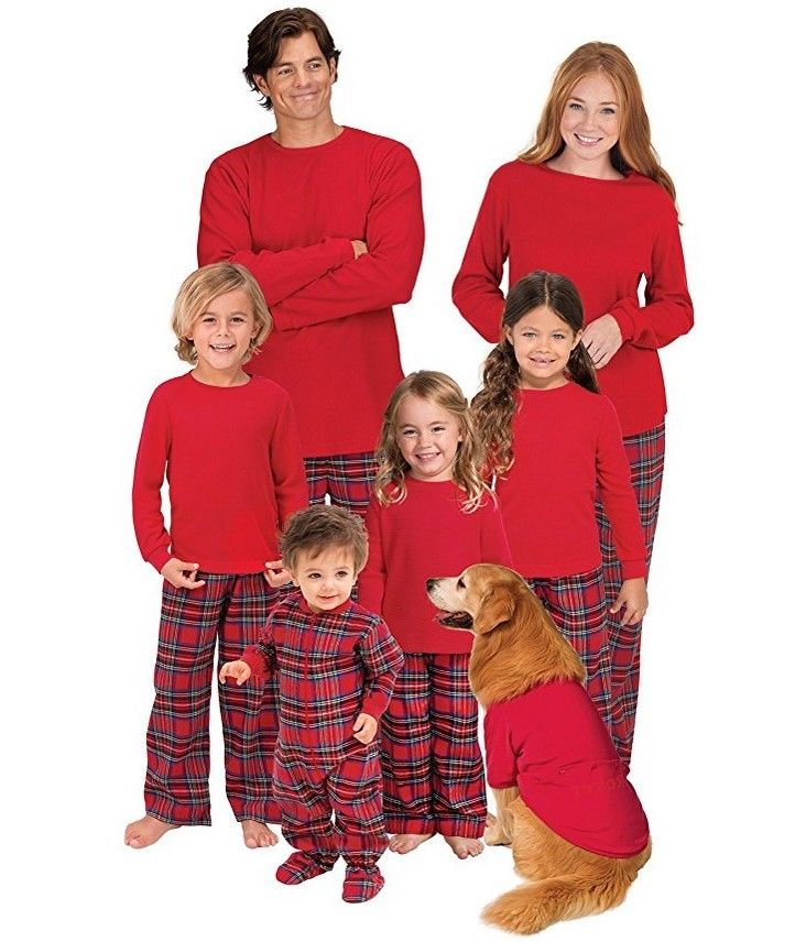 Family Matching Christmas Wram Solid Tops Plaid Pants Bottom Pajamas Set Mum Dad Kids Deer Sleepwear Nightwear Pjs