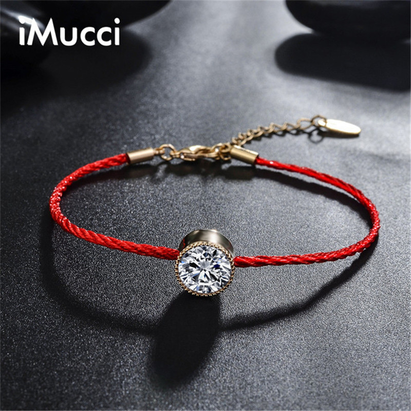 Brand iMucci Simple Austrian Crystals Jewelry Thin Red Thread String Rope Charm Bracelets Fashion Summer Style Women Bracelet
