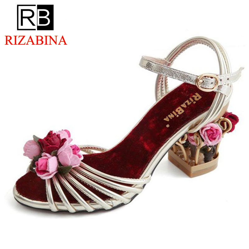 RizaBina Women Real Leather High Wedges Sandals Ladies Flowers Buckle Printed High Heels Shoes WomenS Party Footwear Size 34-39RizaBina Women Real Leather High Wedges Sandals Ladies Flowers Buckle Printed High Heels Shoes WomenS Party Footwear Size 34-39