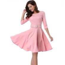 Новинка, женское модное платье с коротким рукавом и поясом, однотонное осеннее платье, вечерние платья, винтажное женское платье, Vestidos, большие размеры