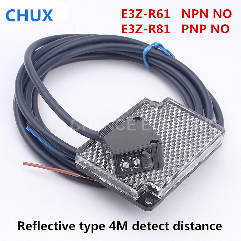Photoelectric Sensor Reflect Mirror type E3Z-R61 E3Z-R81 4m Sensing Detect distance IP54 NPN PNP Infrared Sensor Switch free shipping u shaped rectification infrared sensor 30mm width groove type photoelectric photo switch npn
