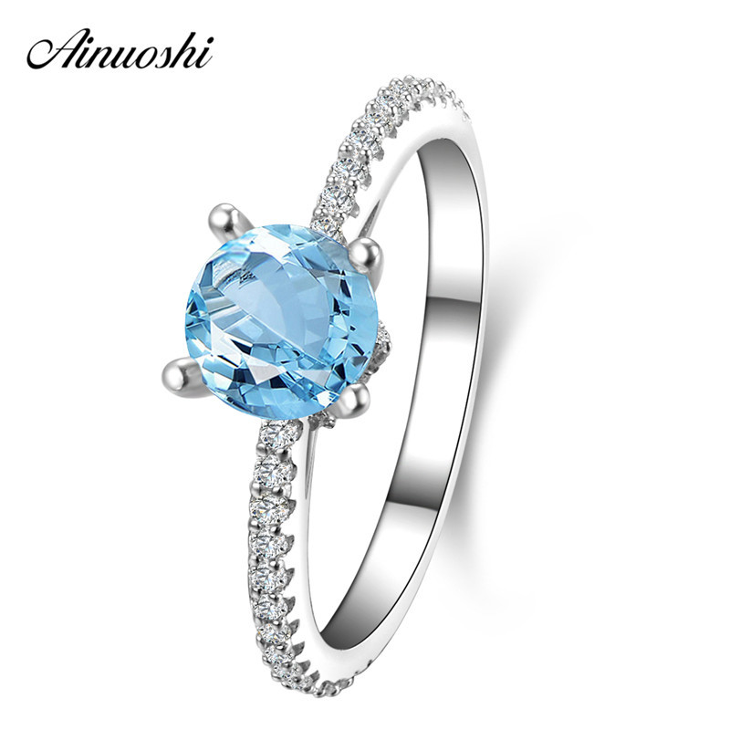 AINUOSHI 1ct Round Cut Natural Blue Topaz Ring Row Drill 925 Silver Gemstone Ring Women Wedding Engagement Party Jewelry GiftAINUOSHI 1ct Round Cut Natural Blue Topaz Ring Row Drill 925 Silver Gemstone Ring Women Wedding Engagement Party Jewelry Gift