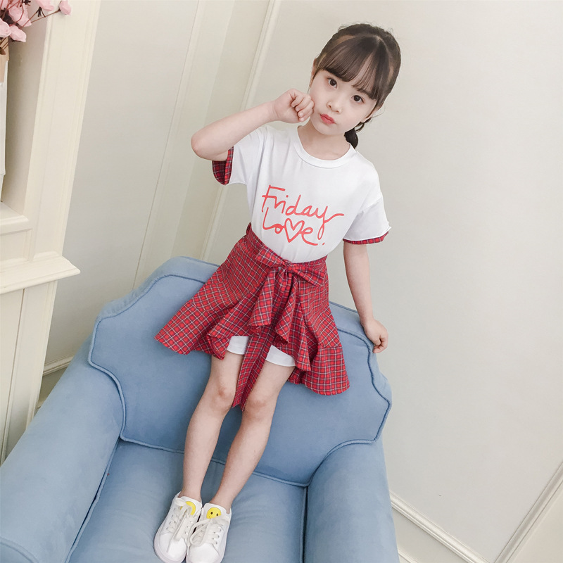 2019 new summer girls suit skirt korean fashion little