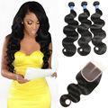 8A MS lula body wave With Closure peruvian Virgin Hair With Closure peruvian Body Wave Human Hair 4 bundles With Closure
