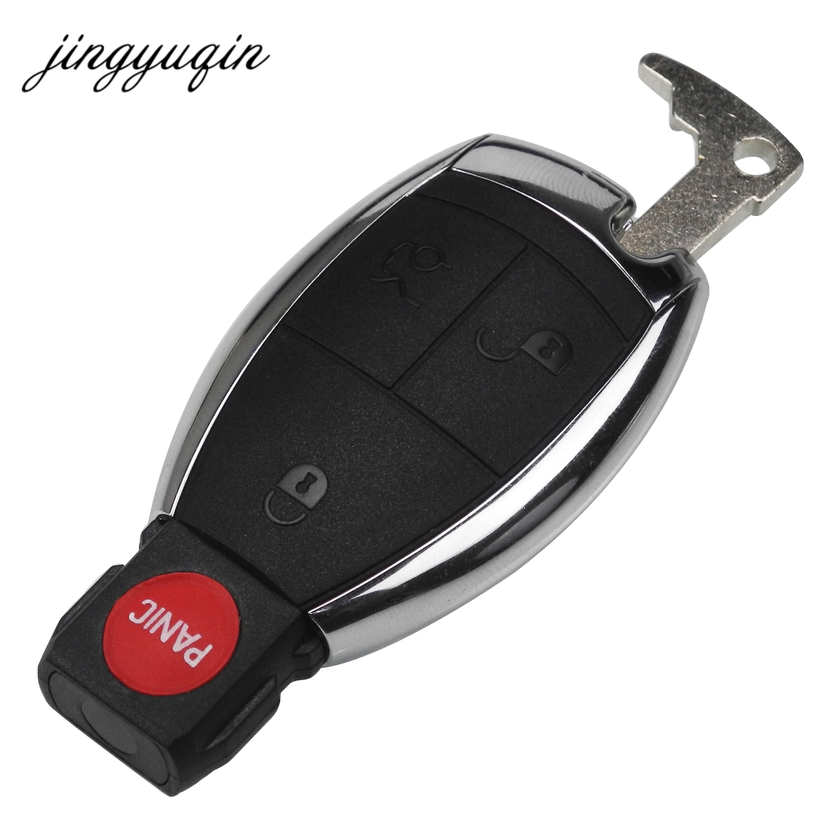 jingyuqin 10pcs Key Case Shell Keyless Remote Fob Case fit Mercedes for Benz E C R CL GL SLK with Battery Clamp Holder 4BTN