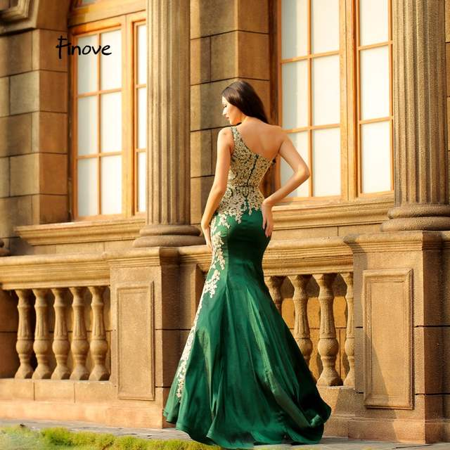 d2ba3a7b35 US $144.0 20% OFF|Finove Evening Dress 2018 New Arrivals Mermaid Evening  Dress One Shoulder Party Dress Ruffles Court Trains Sexy Prom Gowns-in ...