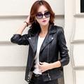 2016 leather clothing female short slim design  women's fashion motorcycle jacket coat Female