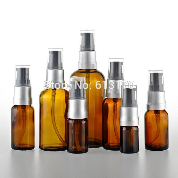 5ml,10ml,15ml,20ml,30ml,50ml,100ml Amber Glass Lotion Bottles With Press Pump Empty Vials Brown Essential Oil Bottles wholesale 100 pcs 5ml small glass vials with cork tops bottles little empty jars 22 30mm free shipping