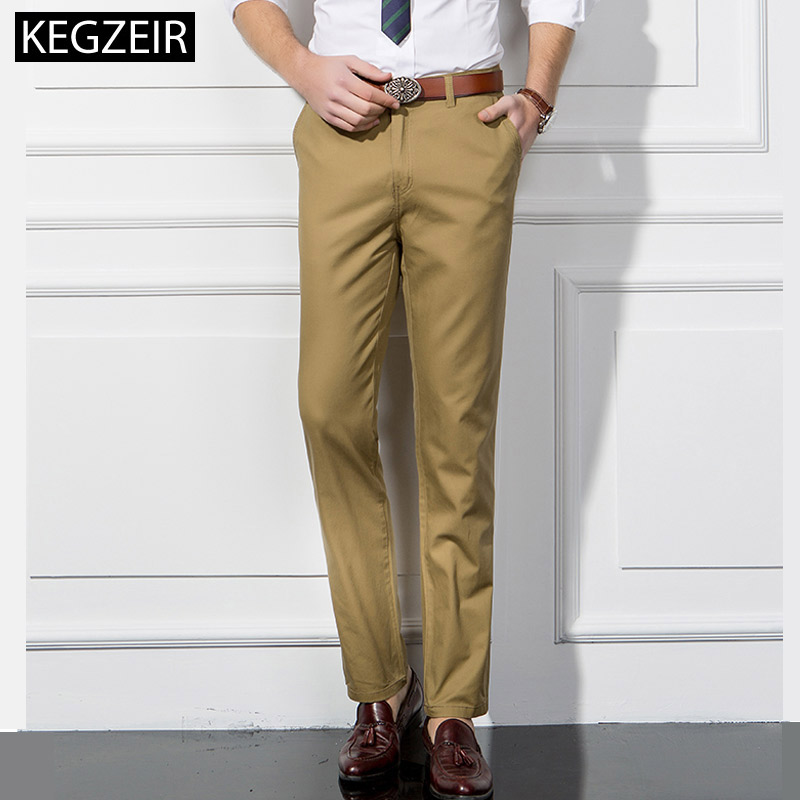 KEGZEIR 2019 New Summer Men Chinos Pants Straight Loose Casual Men Trousers Classic Business Pants For Men