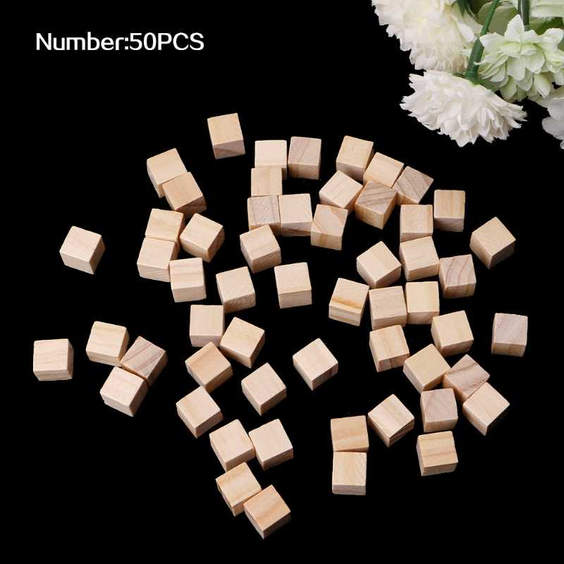 10/25/25mm Wooden Square Blocks Mini Cubes Embellishment for Woodwork Craft DIY