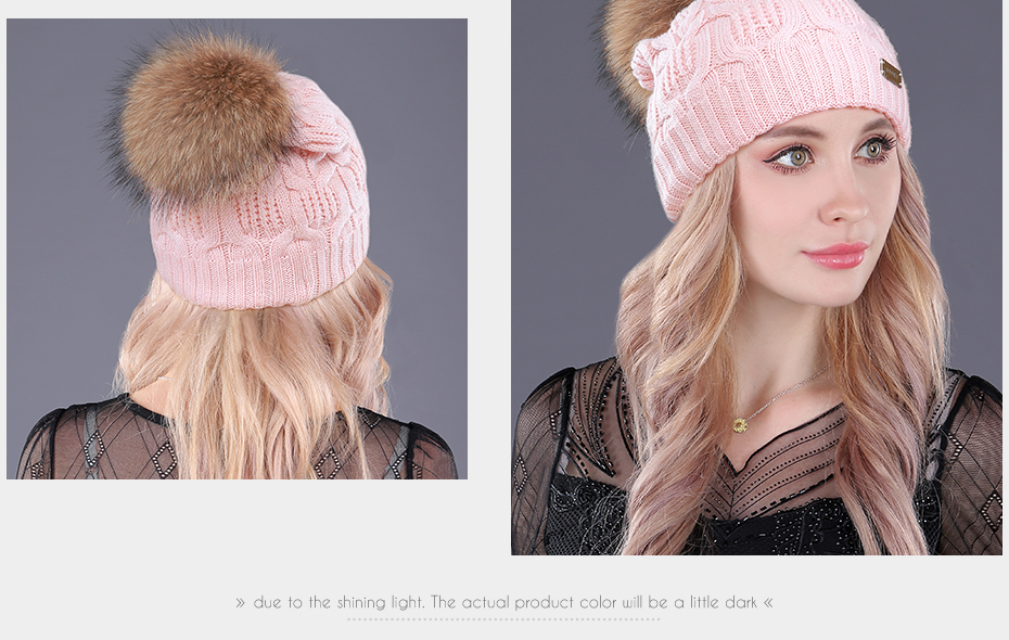 [boapt] Double-deck Knitted Wool Real Natural Raccoon Fur Pompon Hat Female Winter Braid Cap Headgear For Women Skullies Beanies HTB1sCP0gRUSMeJjy1zjq6A0dXXaB