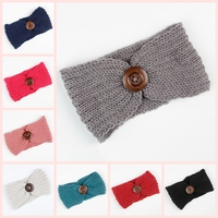 8pcs Lot Fashion Women Charming Winter Ear Warmers Female Knit Crochet Button Headband Turban Hairband Hair