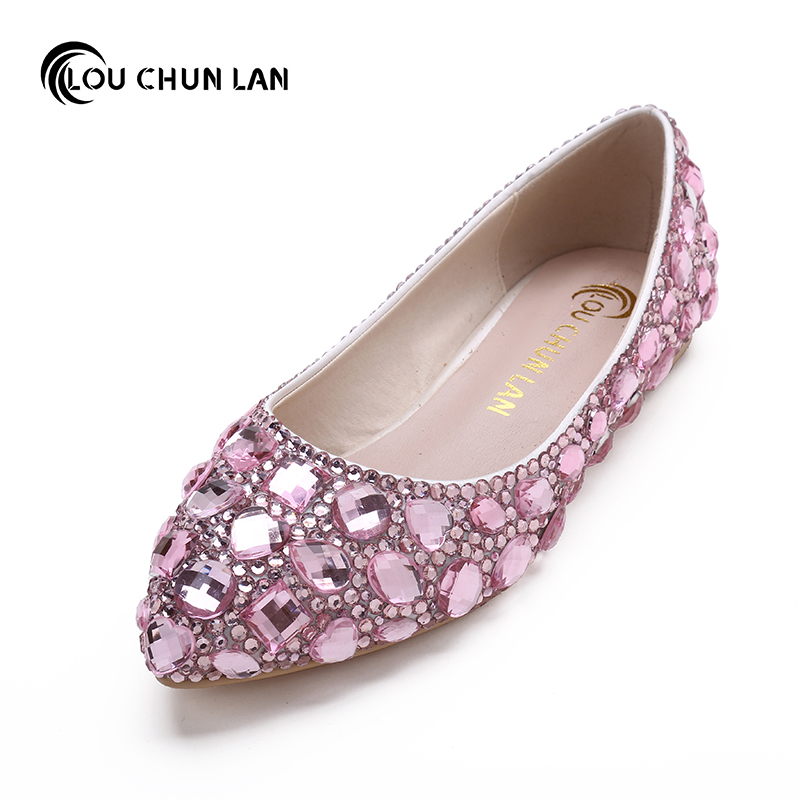 LOUCHUNLAN Shoes Woman's Shoes Adults Flats Pink Wedding Shoes Pointed Toe  handmade Bride Shoes Drop Shipping pu pointed toe flats with eyelet strap