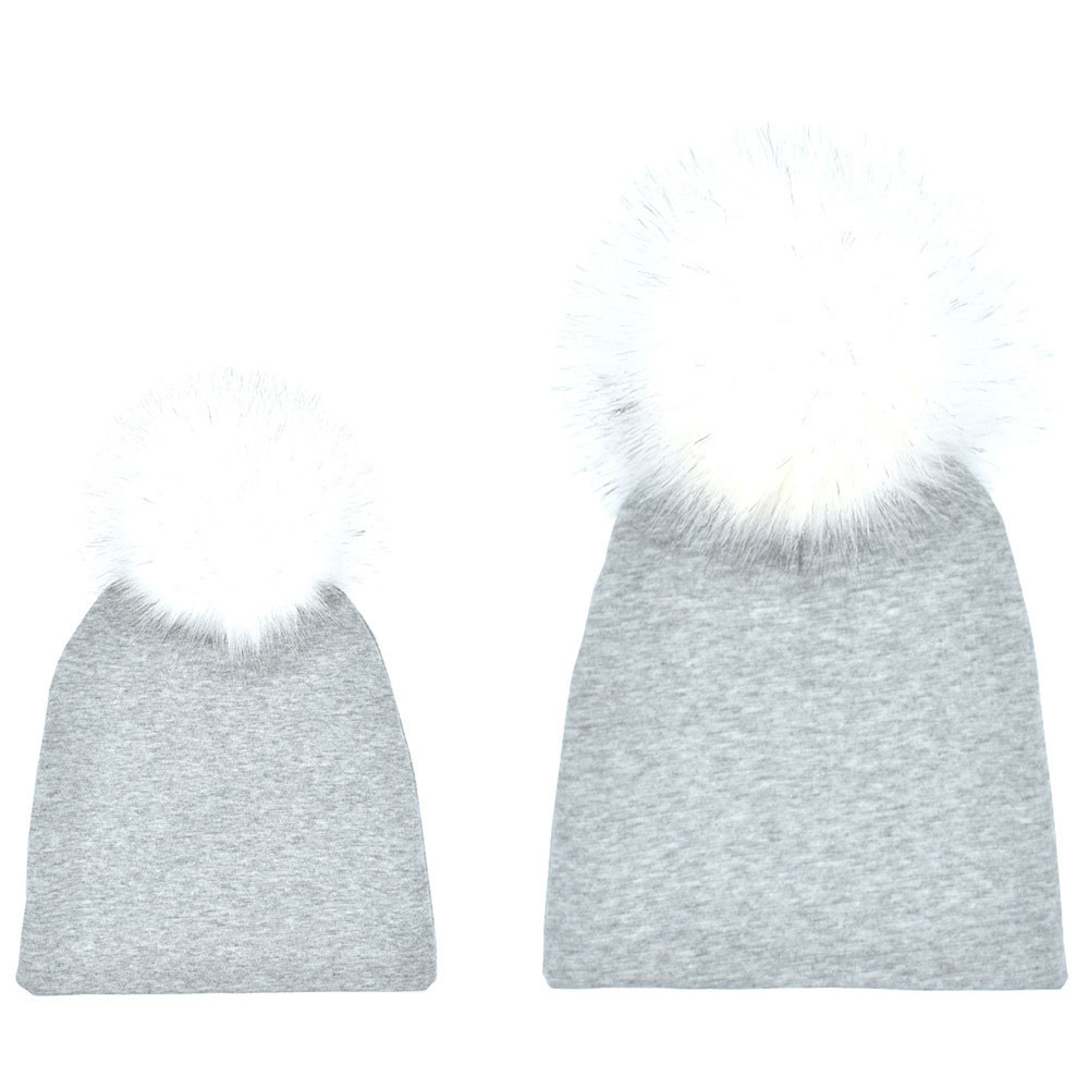 2018 New 2PCS Mom Mother+Baby Crochet Knit Winter Warm Faux Fur Hat Pom Beanie Cap