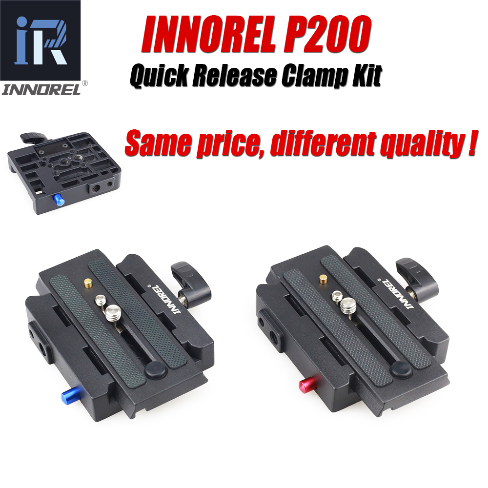 INNOREL P200 Quick Release Adapter Kit Aluminum Alloy QR Plate Clamp for Tripod Monopod Manfrotto 501 500AH 701HDV 503HDV Q5