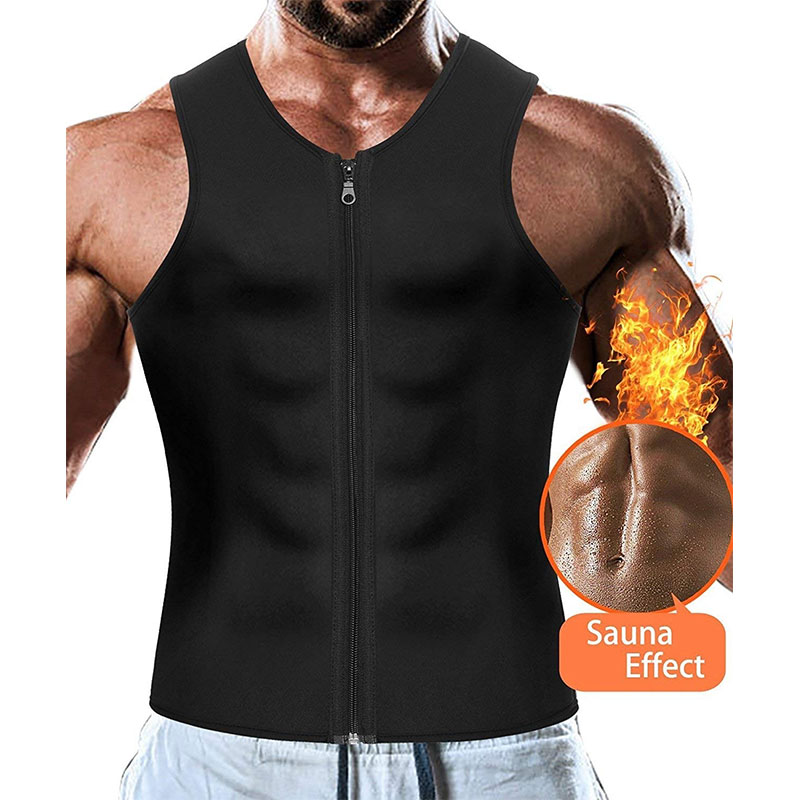 Neoprene Bodysuit Weight Loss Trainning & Exercise T-shirts Quick Dry Men Running Vest Gym Clothing Zipper Sportswear Tank Tops
