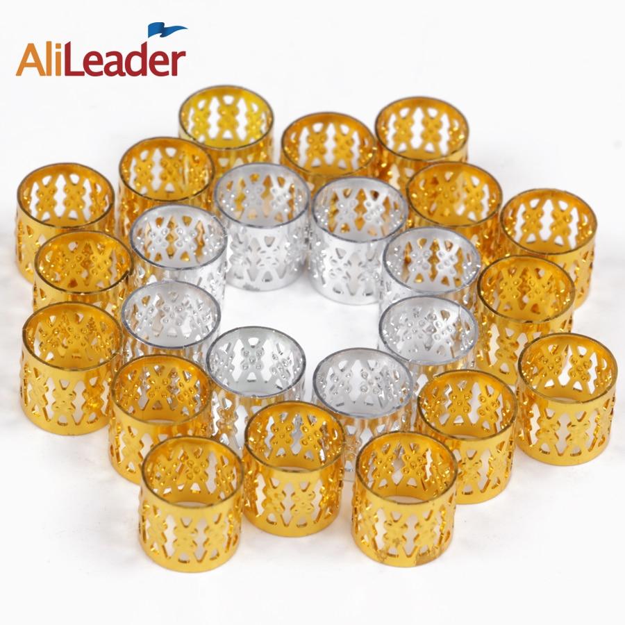 100/50/20 Pcs Silver Golden Hair Beads For Dreadlocks Hair Braid Tubes Cuffs Beads Adjustable Dreadlock Bead Clip Kids Women