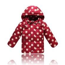 Winter Children's Polka Dot Hooded Coat Girls Warm Coat Winter Children DownJacket Clothes Kids Outerwear