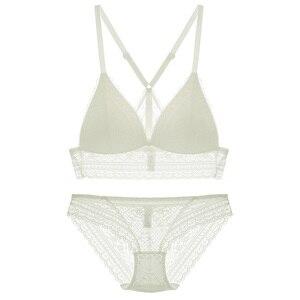 Image 2 - Full lace bralette Beauty back pack women sexy underwear sets transparent bra sets comfortable sleep lingerie deep v intimates