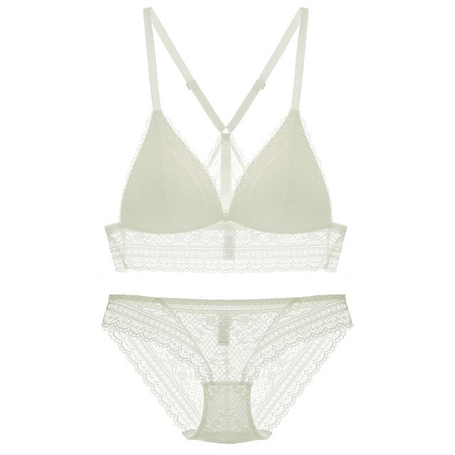 Full lace bralette Beauty back pack women sexy underwear sets transparent bra sets comfortable sleep lingerie deep-v intimates