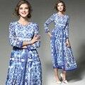 Европейская Мода Впп Vestidos 2017 Новый Синий и Белый Цветочный Принт Длинный Dress Женщины С Длинным Рукавом Макси-Платья Женские
