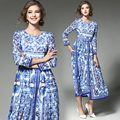 European Fashion Runway Vestidos 2017 New Blue and White Floral Print Long Dress Women Long Sleeved Maxi Dresses Female