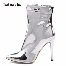 цены на Brand Shiny Patent Leather Pointed Toe Women Short Boots High Heel Shoes 2019 Fashion Ankle Boots Plus Size Shoes Free Shipping  в интернет-магазинах